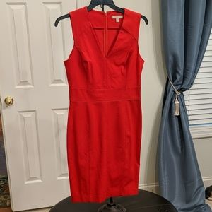 Banana Republic red stretch sheath dress.